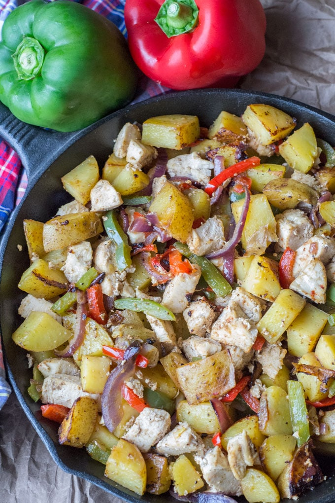 This chicken, peppers and potatoes skillet dinner is one of those easy family meals that kids and adults alike will enjoy.