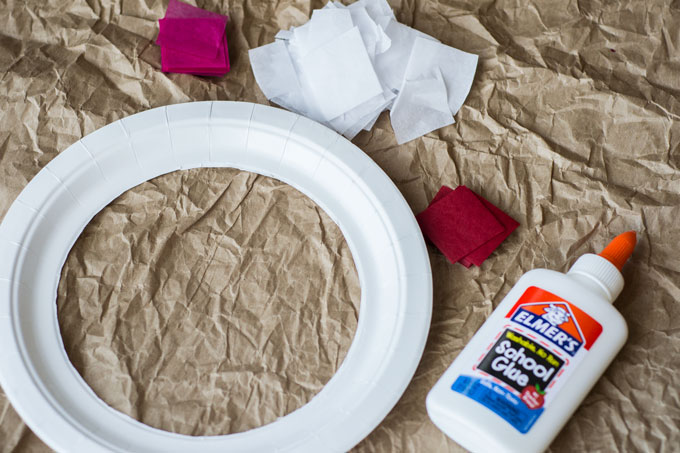materials for valentines day paper plate wreath