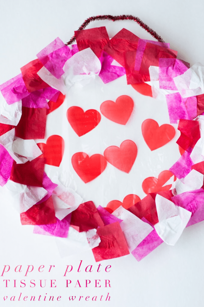 valentines day paper plate wreath pin