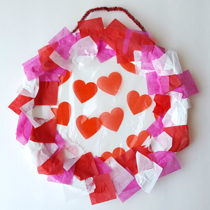 Paper plate Valentine's Day wreath
