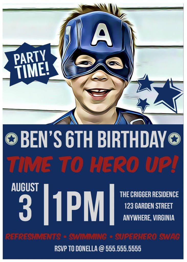 DIY Superhero Party Invitation with BeFunky - Glue Sticks and Gumdrops