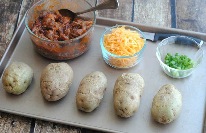 Ingredients for BBQ Pork Baked Potatoes