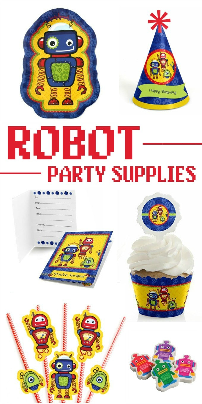 These cute robot party supplies will be a big hit! Perfect for kids' birthday parties or a robot-themed baby shower.