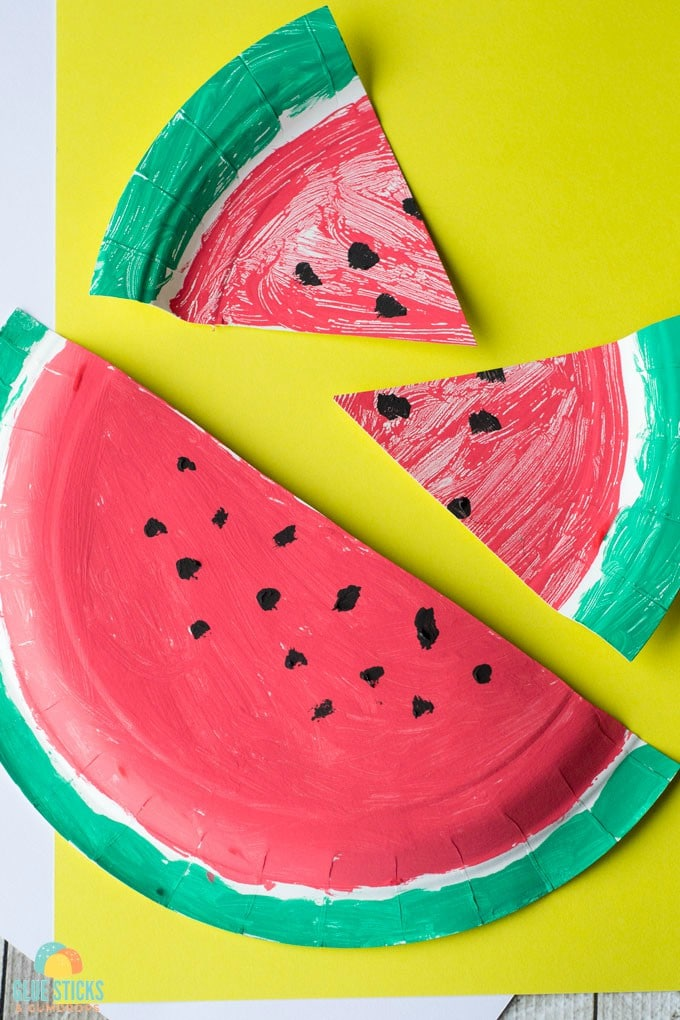 This watermelon paper plate craft is a fun project for summer! Pair it with a book (we recommend The Surprise Garden) for extra fun.