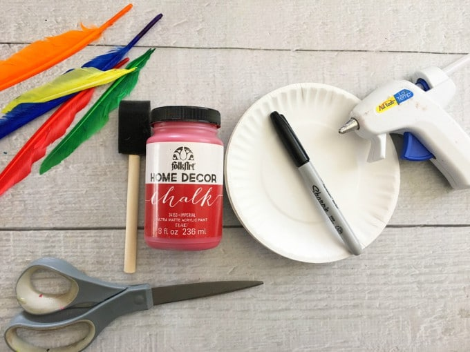 materials for parrot paper plate craft