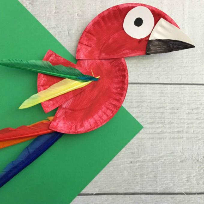 & Parrot Paper Plate Craft for Kids - Rainforest Craft Idea