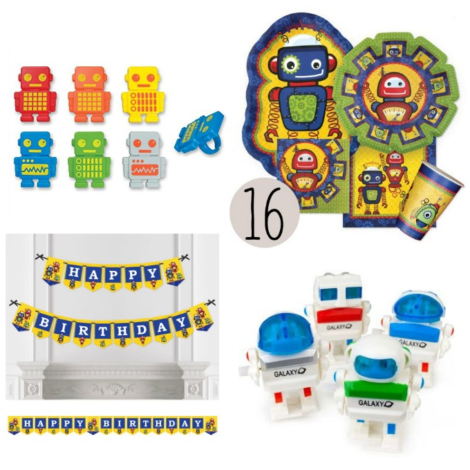 Fun robot party supplies for kids