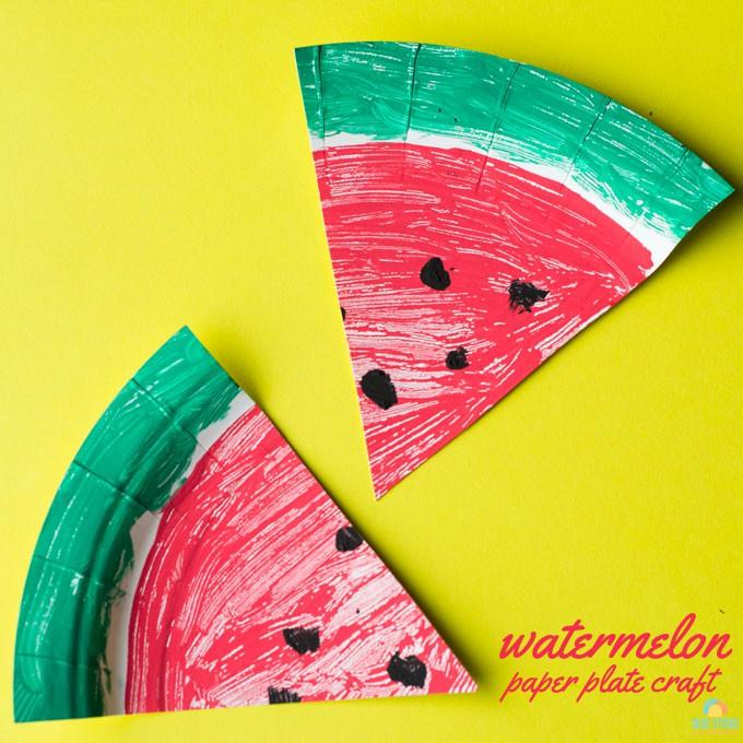 watermelon paper plate craft square