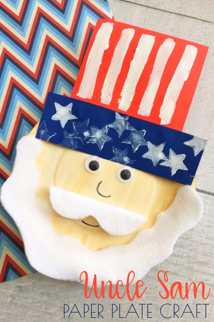Uncle Sam Paper Plate Craft - a fun and easy patriotic kids craft!