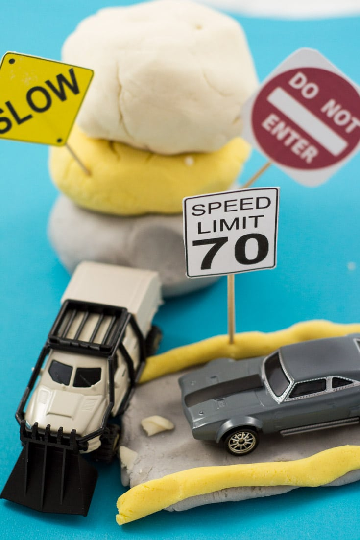 Road Themed Play Dough for Playing with Toy Cars