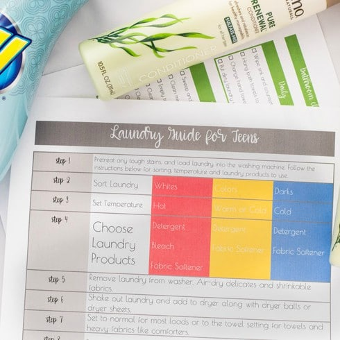 Laundry Guide + Bathroom Cleaning Checklist for Teens