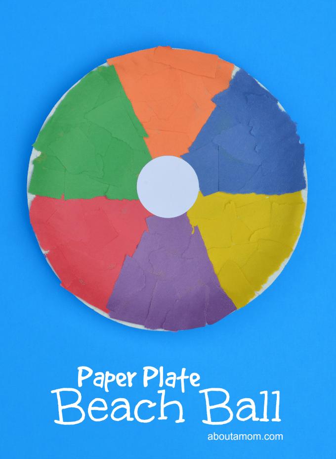 beach ball paper plate craft for summer