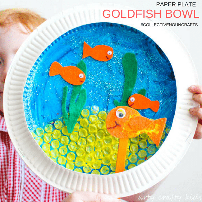 goldfish bowl summer paper plate craft