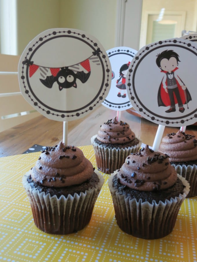 cute vampire halloween cupcake toppers