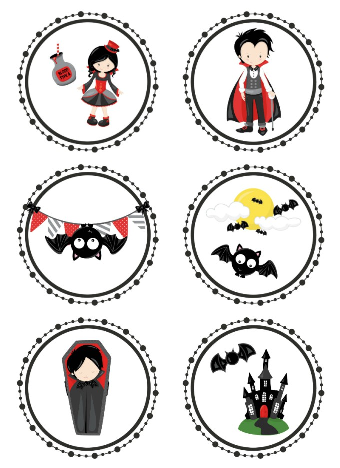 picture about Printable Cupcakes Toppers named Cost-free Printable Vampire Halloween Cupcake Toppers