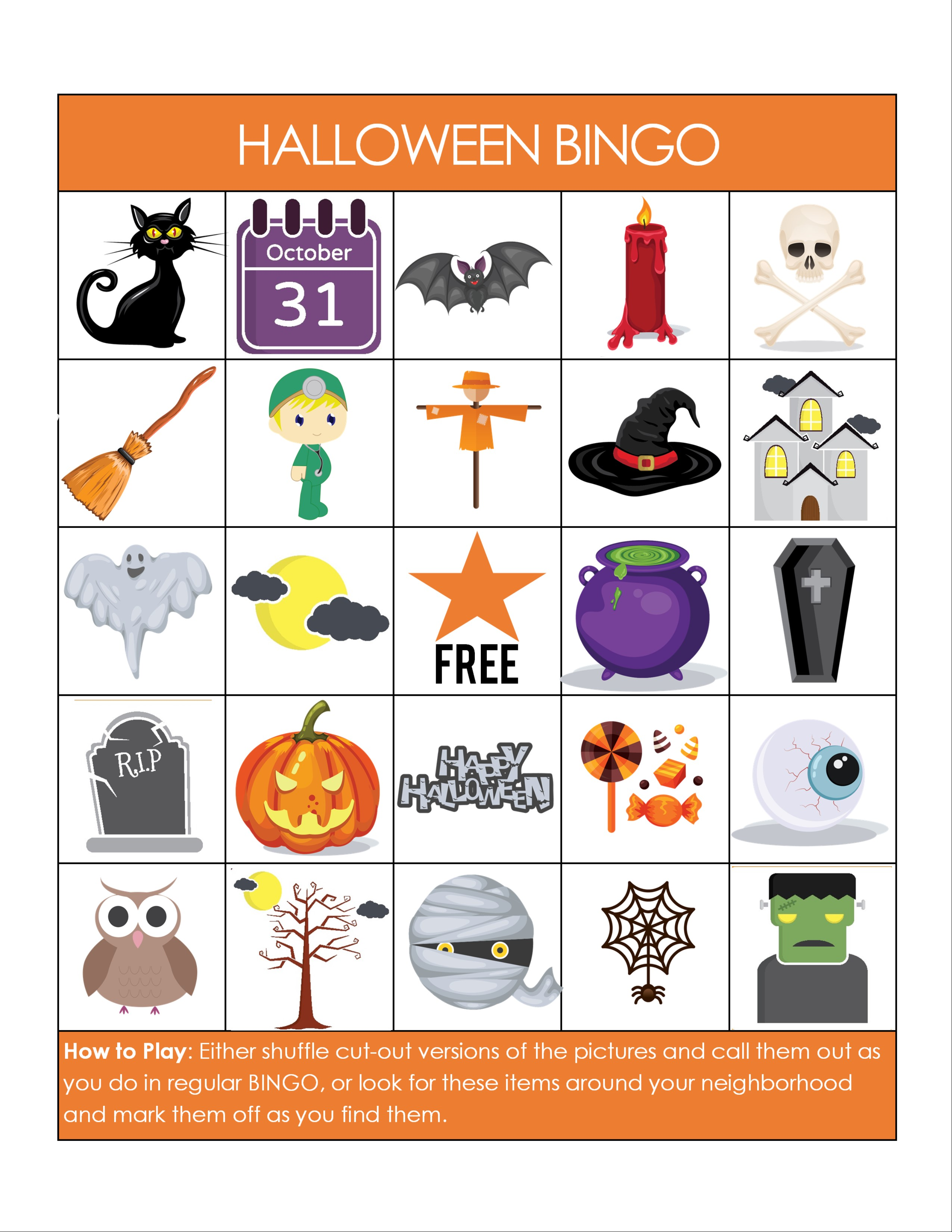 Printable Halloween Bingo Game - Glue Sticks and Gumdrops
