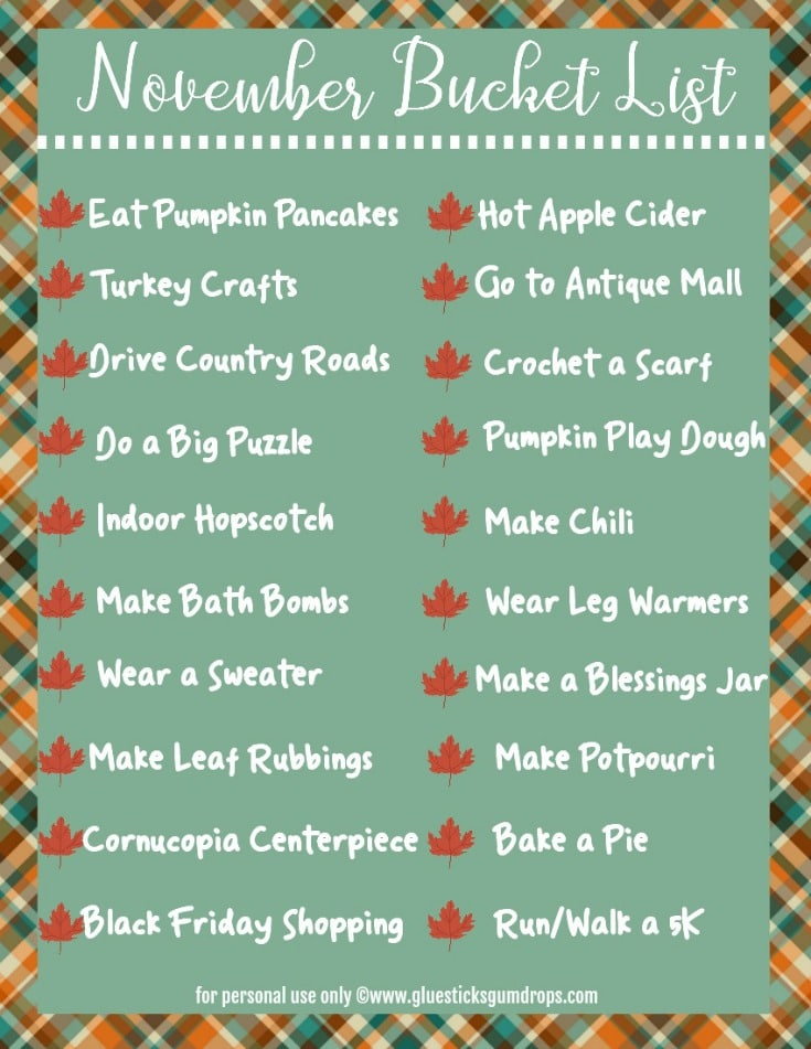 November bucket list for families