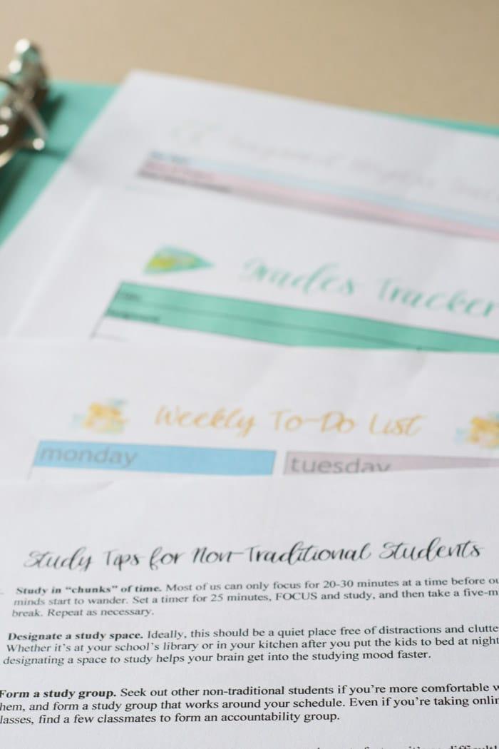 student organization sheets