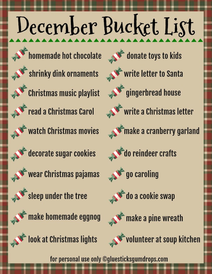 free printable December Bucket List
