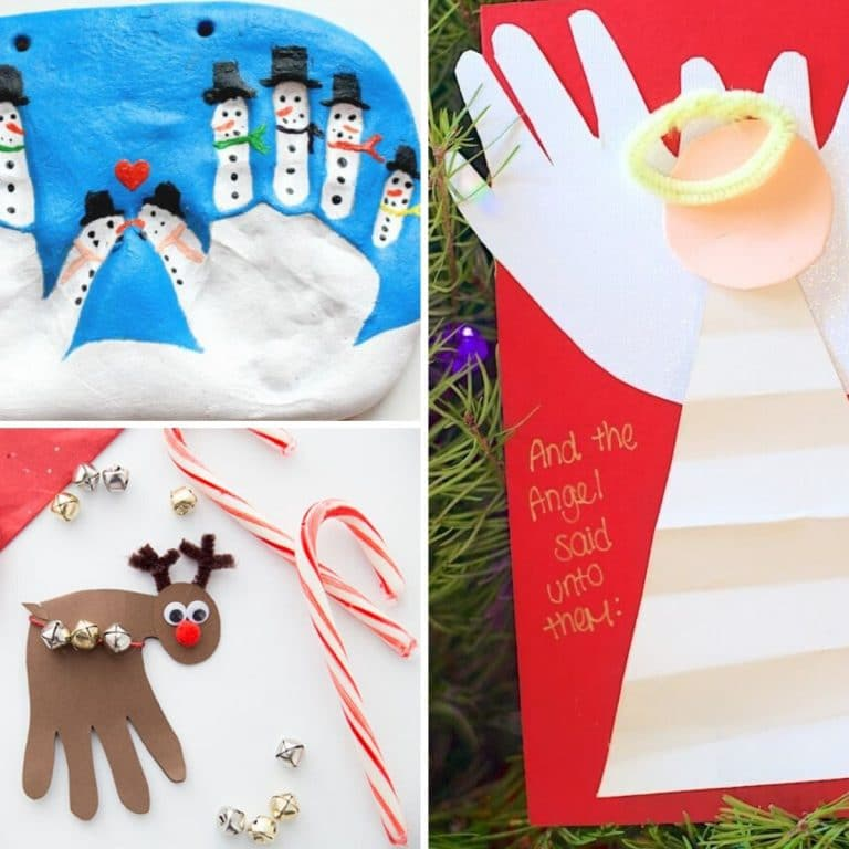 collage of 3 handprint christmas crafts