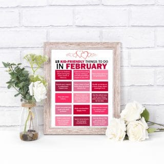 Printable February Bucket List for Kids