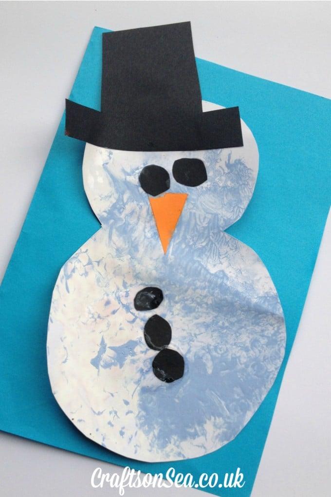 bubble wrap painted snowman