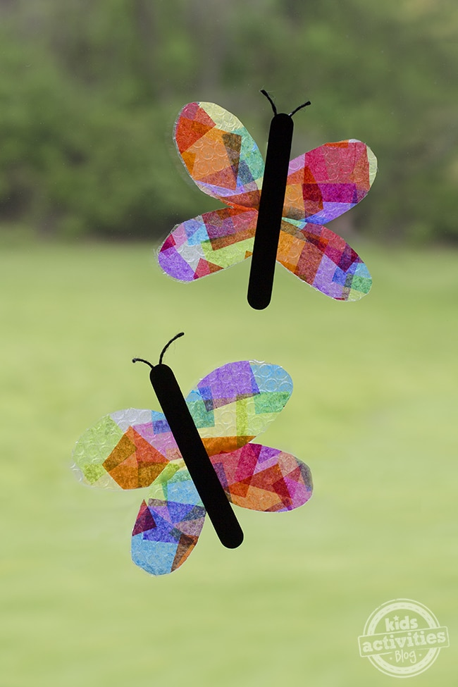 butterfly suncatchers made with bubble wrap