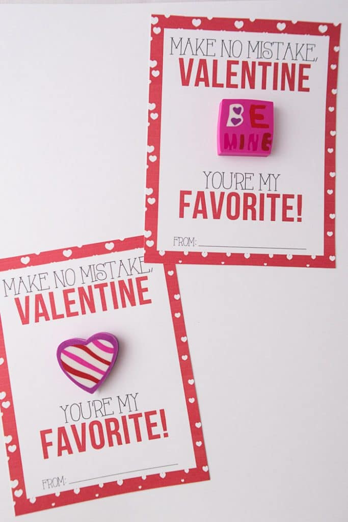 graphic regarding Valentines Free Printable identified as Eraser Clroom Valentines - No cost Printables for