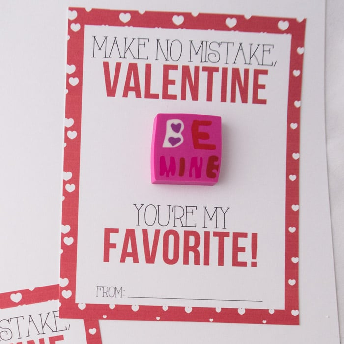 Eraser Classroom Valentines – Free Printables