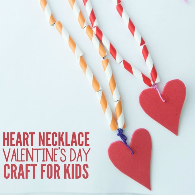 Heart Necklace Valentine's Day Craft for Kids