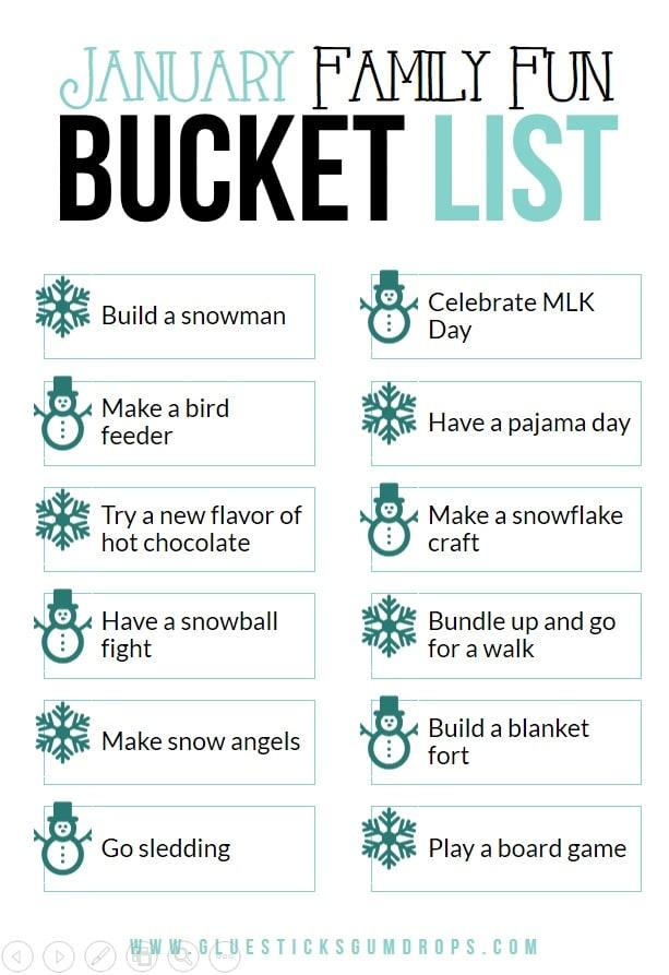 January Family Fun Bucket List