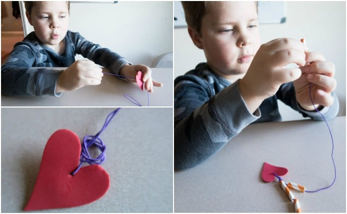 making a straw heart necklace for valentines day