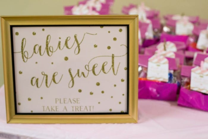pink and gold baby shower favors