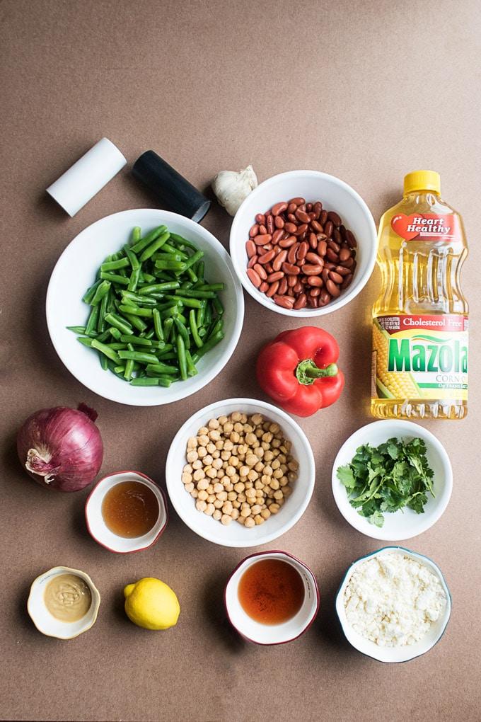 Ingredients for Light Three Bean Salad