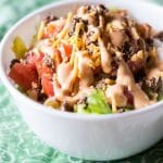 Low Carb Cheeseburger Salad with Mac Sauce Dressing