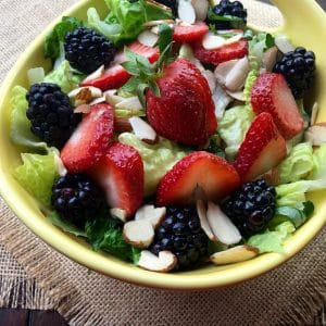 Crisp and refreshing mixed berry salad with almonds