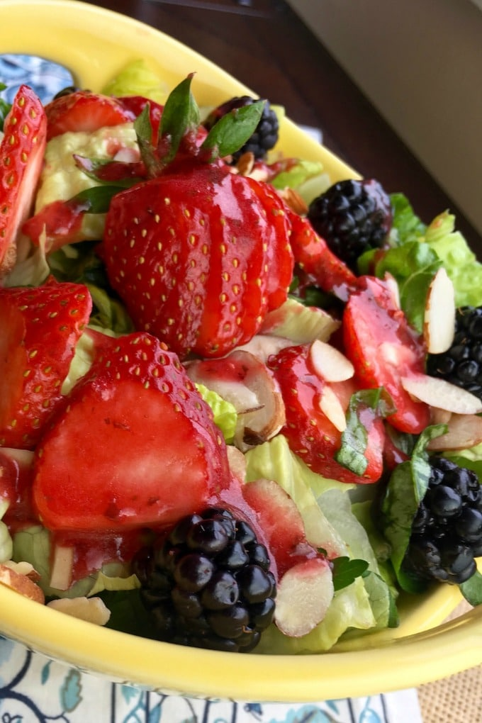 Mixed Berry Salad with Raspberry Vinaigrette Dressing