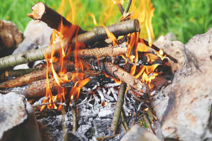 campfire in the daytime