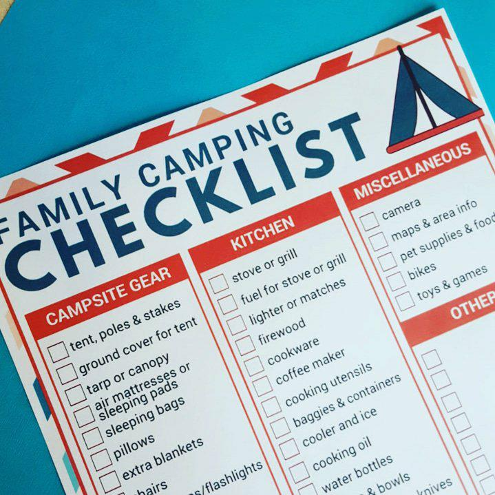 printable family camping list
