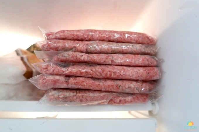 uncooked ground beef stored in the freezer