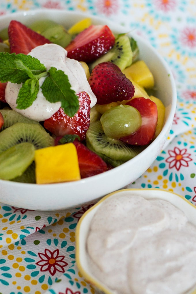 Tropical Fruit Salad Recipe with Honey Yogurt Dip