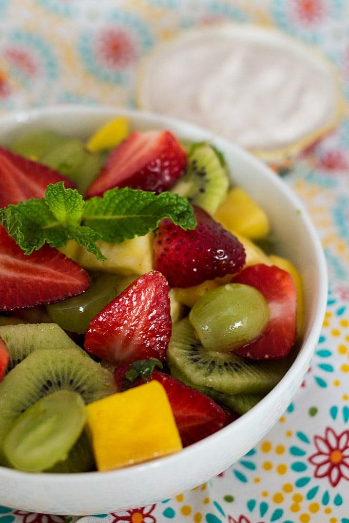 Summer Fruit Salad with Honey and Cinnamon Yogurt Dip
