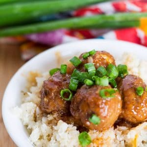 Sweet and Spicy Korean Meatballs with Riced Cauliflower