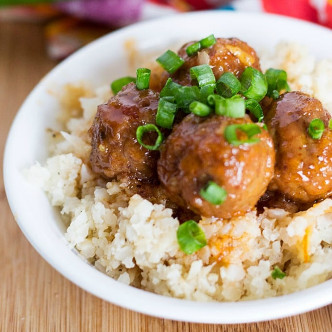 Sweet and Spicy Korean Meatballs with Cauliflower Rice