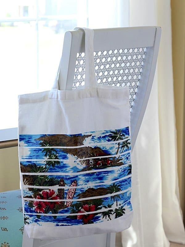beach decoupage bag