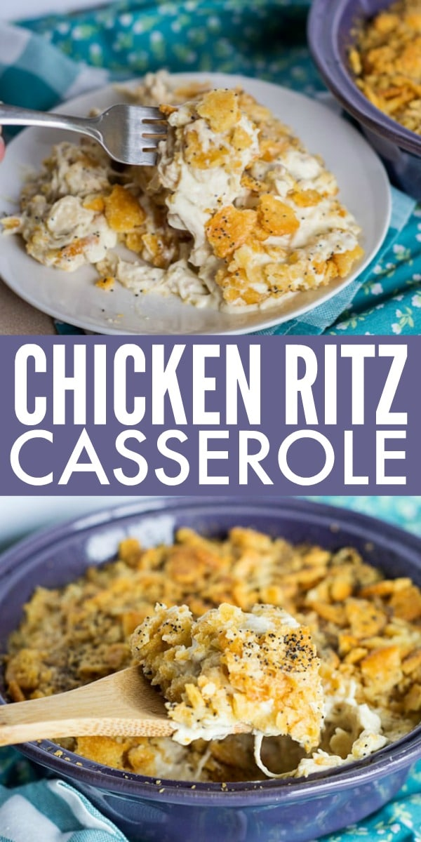 This comforting Chicken Ritz Casserole is a family favorite. With creamy chicken filling and a buttery Ritz topping, it can't be beat!