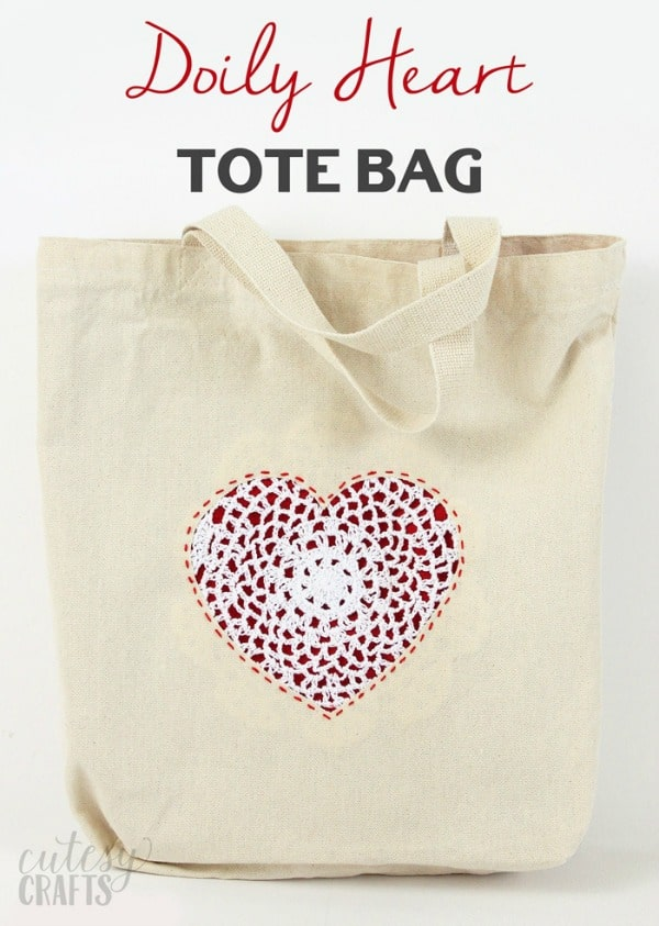 doily heart tote bag