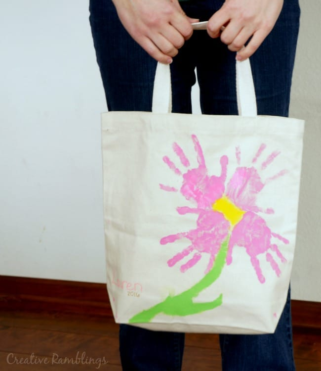 handprint flower tote