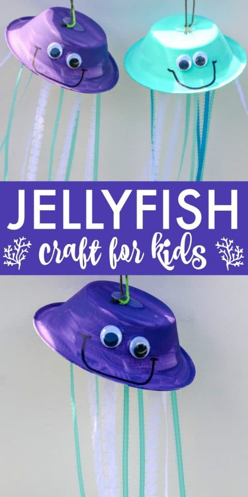 This hanging jellyfish craft is an easy summer kids activity! Pair it with an ocean studies unit or after a visit to the aquarium.