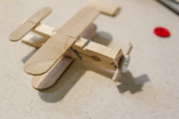 assembled clothespin airplane